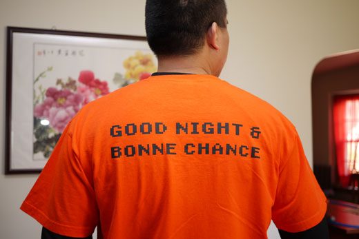 Good Night and Bonne Chance - Back of GameCritics T-Shirt