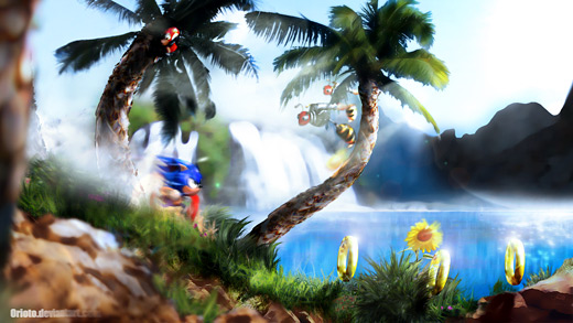 Sonic the Hedgehog - Green Hill Zone Orioto Fan Art