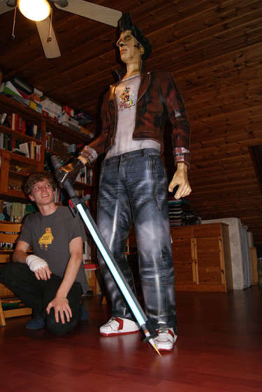 Life-sized papercraft of No More Heroes' Travis Touchdown